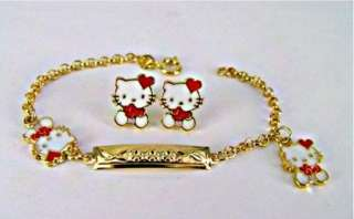 Set Earrings Gold 18k GF Hello Kitty Bracelet Infants Kids Girl