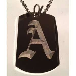 Letter A OLD English Font Initial   Military Dog Tag