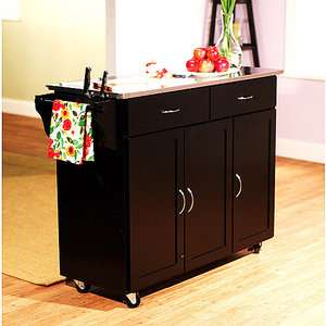 Extra Large Kitchen Cart, Black With Stainless Steel Top