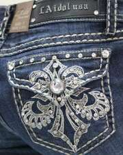 LA IDOL Dark Blue Denim Embellished Boot Cut Jeans 0 15