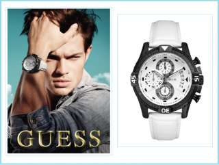 NEW GUESS U15067G1 MENS WATCH, WHITE LEATHER STRAP, NWT