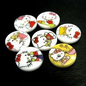 pcs) Mix Cute Hello Kitty Round 2 Holes Buttons Sewing Craft Kid 10MM