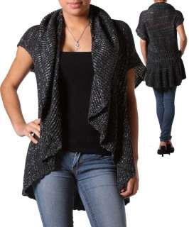 WOMANS PLUS SIZE BLACK RUFFLED CARDIGAN WITH SILVER SHIMMER 1XL 14/16