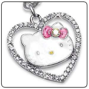 Hello Kitty Sparkle Heart Crystal Charm Necklace   Fully Licensed By