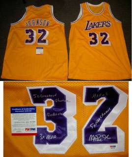 MAGIC JOHNSON AUTOGRAPHED SIGNED LOS ANGELES LAKERS JERSEY MANY STATS