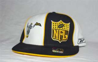 New Reebok NFL Classic Pittsburgh Steelers Black White Fitted 7 3/8