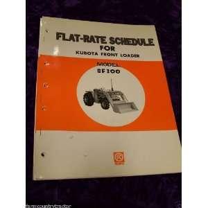 Kubota BF300 Tractor Loader Flat Rate Schedule Manual Kubota
