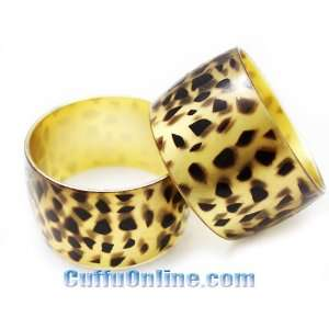 HOTLOVE Fashion Accessory   Stylish Wide Bracelet Gold Leopard