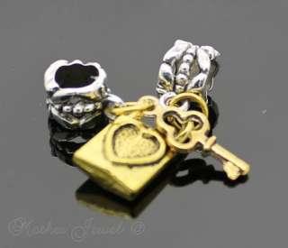 Antique Gold Plated Key & Lock Set European Bracelet Beads Charm