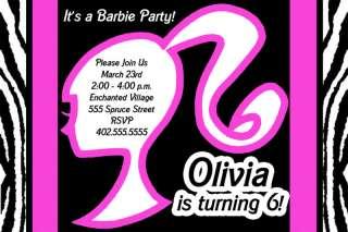 Custom Barbie Zebra Print Birthday Party Invitations