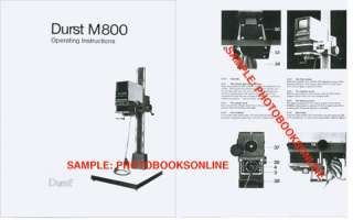 Durst M800 Enlarger Instruction Manual