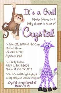 Personalized Monkey Jungle Zoo Baby Shower Invitations