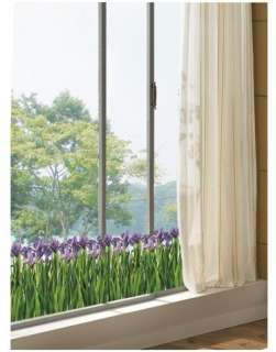 IRIS Flowers Adhesive Removable Wall Decor Accents Stickers Decals