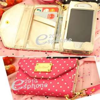Pink White Dots Wallet Leather Case Card Flip Cover for iPhone 4 4S AT