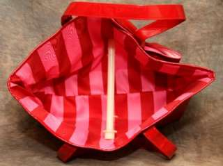 VICTORIAS SECRET VINYL LARGE RED SUPER MODEL TOTE BAG WITH BOW NWOT