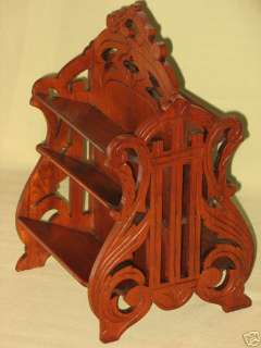 ANTIQUE CARVED WALNUT DESK TABLE TOP STAND HOLDER CARDS