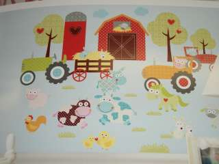 BARNYARD TRACTOR ANIMALS BARN PEEL AND STICK WALL DECALS RMK1604SCS
