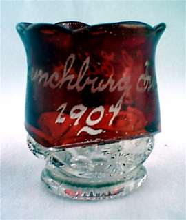 Ruby stained ZANESVILLE toothpick holder souvenir EAPG