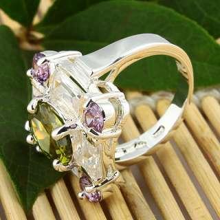 Fashion Peridot Amethyst White Topaz Jewelry Gems Silver Ring Size #6