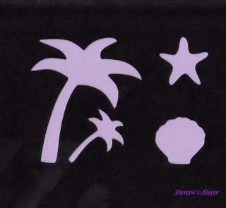 Stencil Palm Tree Tropical Clam Starfish