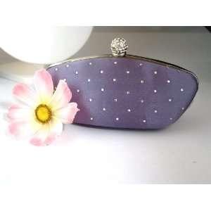 com Silver Grey Satin & Crystal jewel box evening wedding purse bag