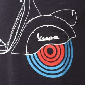 Mens Small S Vespa Grun Tee T Shirt Mod Dark Blue Navy Scooter