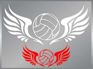 VOLLEYBALL with Tribal Wings cut vinyl decal up to 12